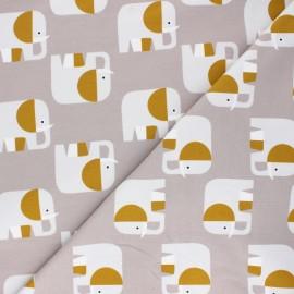 Cotton jersey fabric Elio l'Eléphant - taupe grey x 10cm
