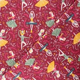 Milleraies velvet fabric - burgundy Animal Dancers x10cm
