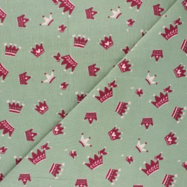 Milleraies velvet fabric - green Cute Crown x10cm