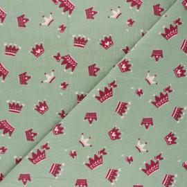 Tissu velours milleraies Cute Crown - vert x 10cm