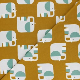 Tissu jersey Elio l'Eléphant - moutarde  x 10cm