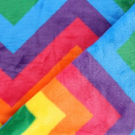 Nicky Fleece fabric - Multicolor Rainbow Pop x 10cm