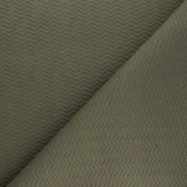 Quilted mottled fabric  - khaki green Chevrons x 10cm