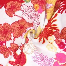 Flowery viscose Fabric - white Summer Peony x 10cm