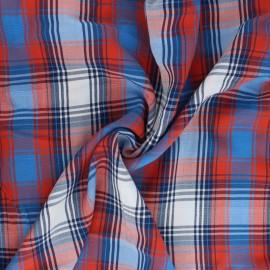 Tissu viscose à carreaux Erik - bleu x 10cm