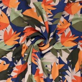 Tissu Jersey Viscose Autumn Leaves - bleu x 10 cm