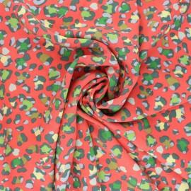 Tissu viscose Juicy Leopard - corail x 10cm