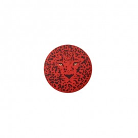 Bouton polyester Félin 25 mm - Rouge