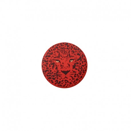 25 mm Polyester Button - red Félin