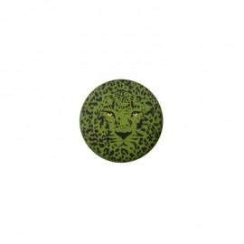 25 mm Polyester Button - green Félin