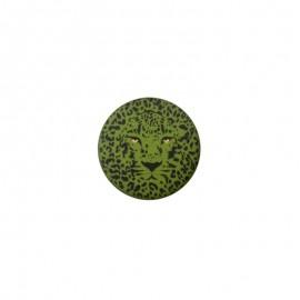Bouton polyester Félin 25 mm - Vert