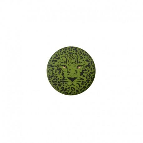 25 mm Polyester Button - green Félin