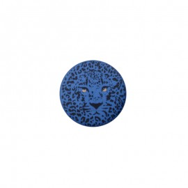 Bouton polyester Félin 25 mm - Bleu