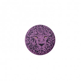 Bouton polyester Félin 25 mm - Violet