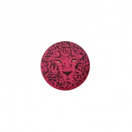 25 mm Polyester Button - Fuchsia Félin