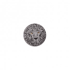 25 mm Polyester Button - grey Félin