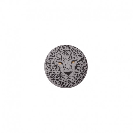 25 mm Polyester Button - grey Félin
