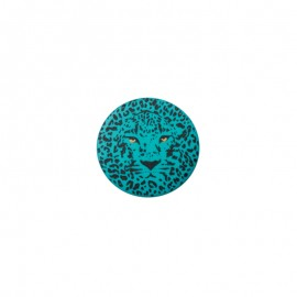 Bouton polyester Félin 25 mm - Turquoise