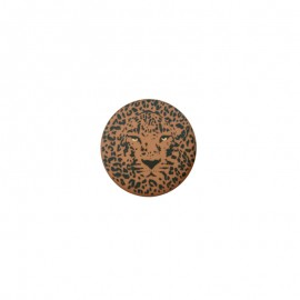 25 mm Polyester Button - coffee Félin