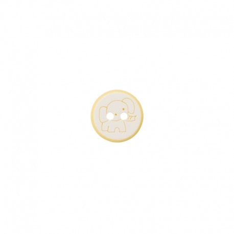 12 mm Polyester Button - yellow Cuty elephant