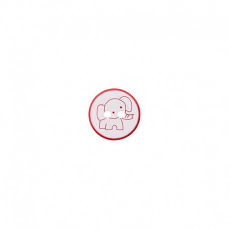 12 mm Polyester Button - red Cuty elephant