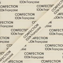 """Ruban coton étiquette """"Confection 100% française"""" - écru - 1m"""
