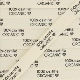 """Ruban coton étiquette """"100% certifié Organic"""" - écru - 1m"""