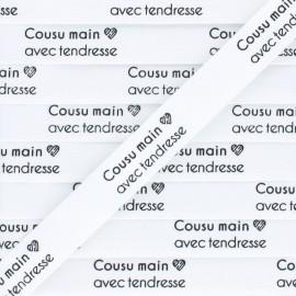"""Ruban coton étiquette """"Cousu main avec tendresse"""" - écru - 1m"""