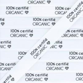 """Ruban coton étiquette """"100% certifié Organic"""" - blanc - 1m"""