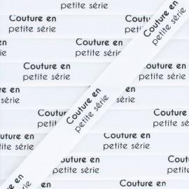"""Ruban coton étiquette """"Couture en petite série"""" - blanc - 1m"""