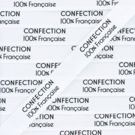 "Label coton Ribbon ""Confection 100% française""- White - 1m"