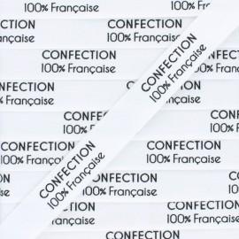 """Ruban coton étiquette """"Confection 100% française"""" - blanc - 1m"""