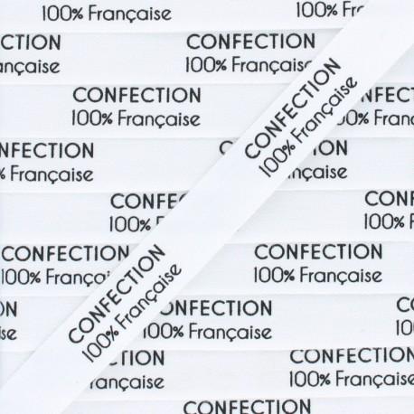 """Label coton Ribbon """"Confection 100% française""""- White - 1m"""