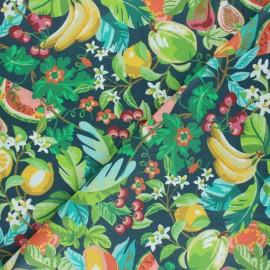 Tissu coton cretonne enduit Fruits d'été - bleu ardoise x 10cm