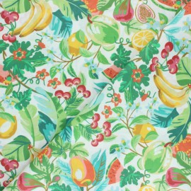 Coated cretonne cotton fabric - white Fruits d'été x 10cm
