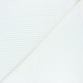 Tissu velours jersey grosses côtes - écru x 10cm
