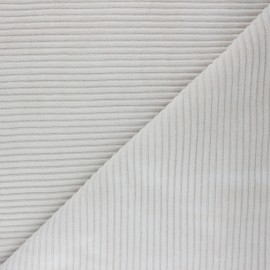 Thick ribbed velvet jersey fabric - beige x 10cm