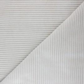 Tissu velours jersey grosses côtes - beige x 10cm