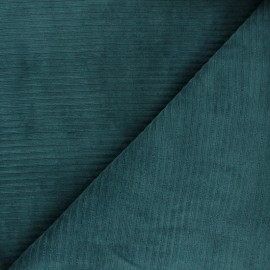 Thick ribbed velvet jersey fabric - peacock green x 10cm