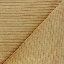 Thick ribbed velvet jersey fabric - ochre x 10cm