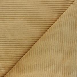 Thick ribbed velvet jersey fabric - ochre x 10cm