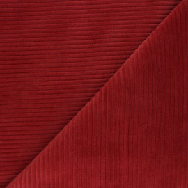 Thick ribbed velvet jersey fabric - brick red x 10cm