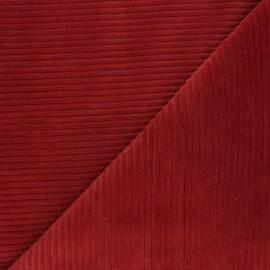 Tissu velours jersey grosses côtes - rouge brique x 10cm