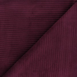 Tissu velours jersey grosses côtes - violet x 10cm