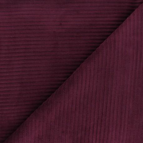 Thick ribbed velvet jersey fabric - purple x 10cm