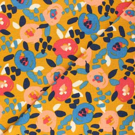 Poppy French Terry fabric - yellow mustard Painted Flowers x 10cm