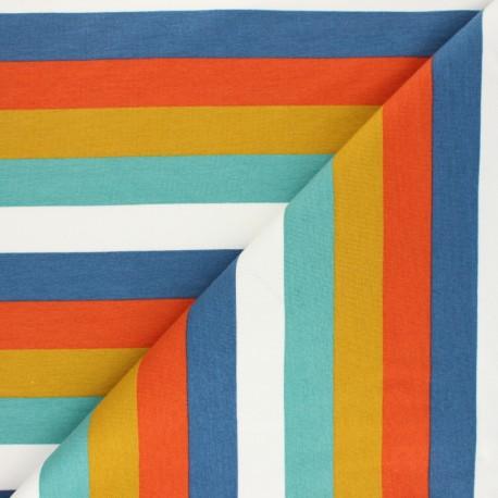 Tissu sweat léger Poppy à rayures Festive - ocean x 10cm