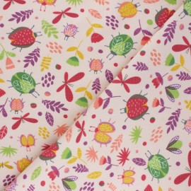 Tissu sweat léger Poppy Summer in the Air - rose clair x 10cm
