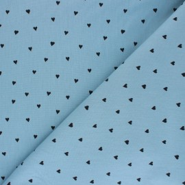 Poplin Poppy cotton fabric - blue You're a Sweetheart x 10cm