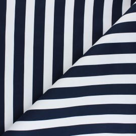 Tissu Gabardine Lycra Marinière - bleu marine x 10cm